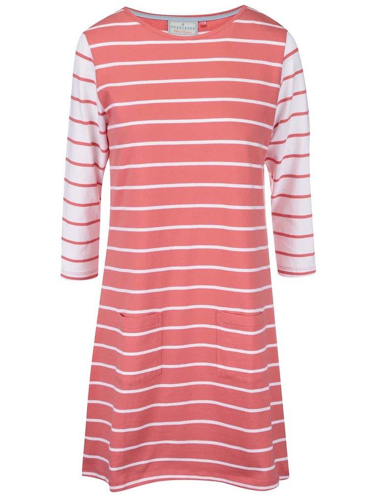 Růžové pruhované šaty s 3/4 rukávy Brakeburn Stripe