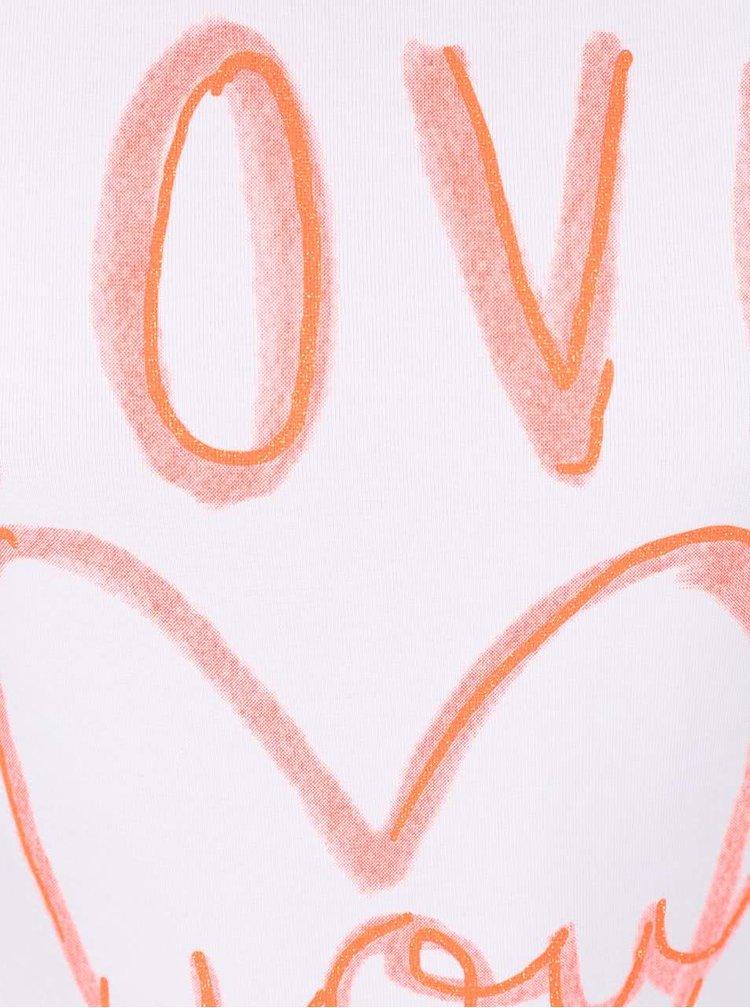 Krémové dievčenské tričko s nápisom a srdcom name it Giffa