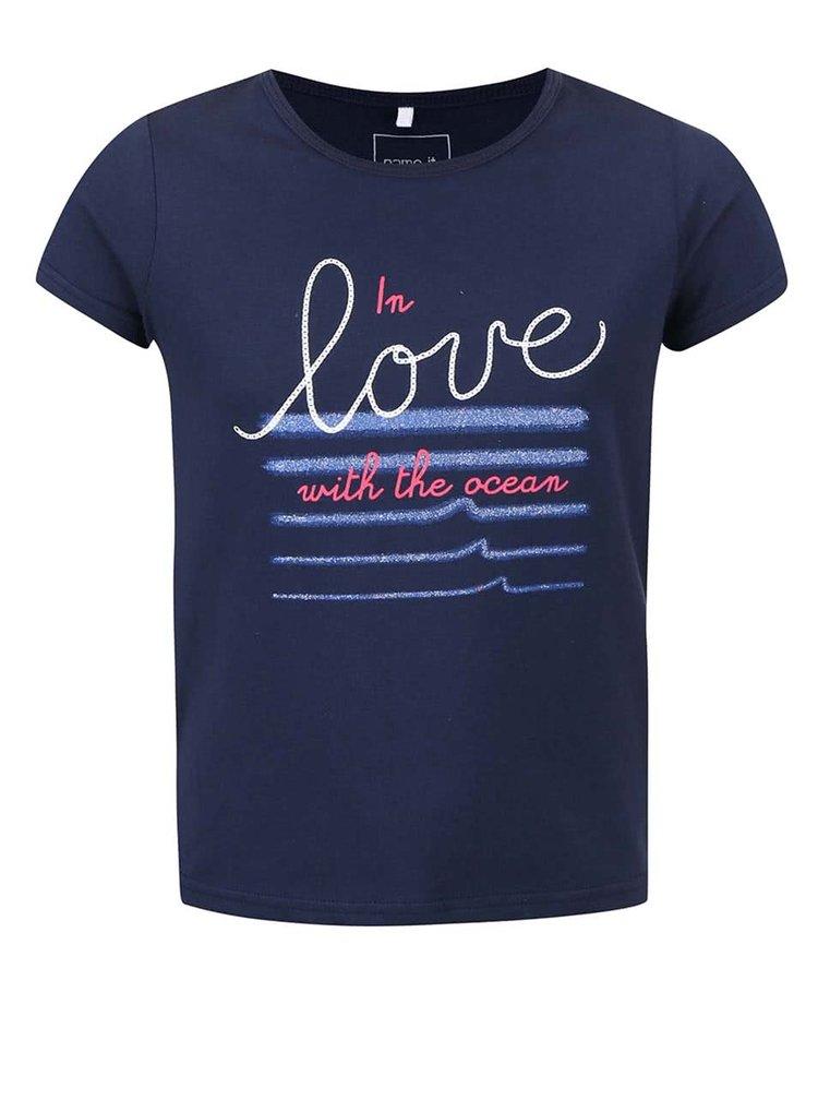 Tricou de fetițe name it navy cu imprimeu