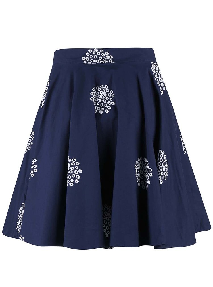 Tmavomodrá vzororvaná sukňa Brakeburn Polka