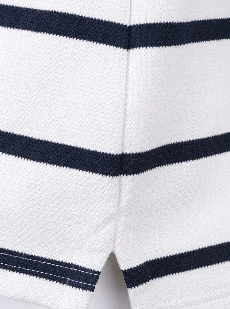 Bílá pruhovaná mikina s knoflíkovým límcem Brakeburn Stripe