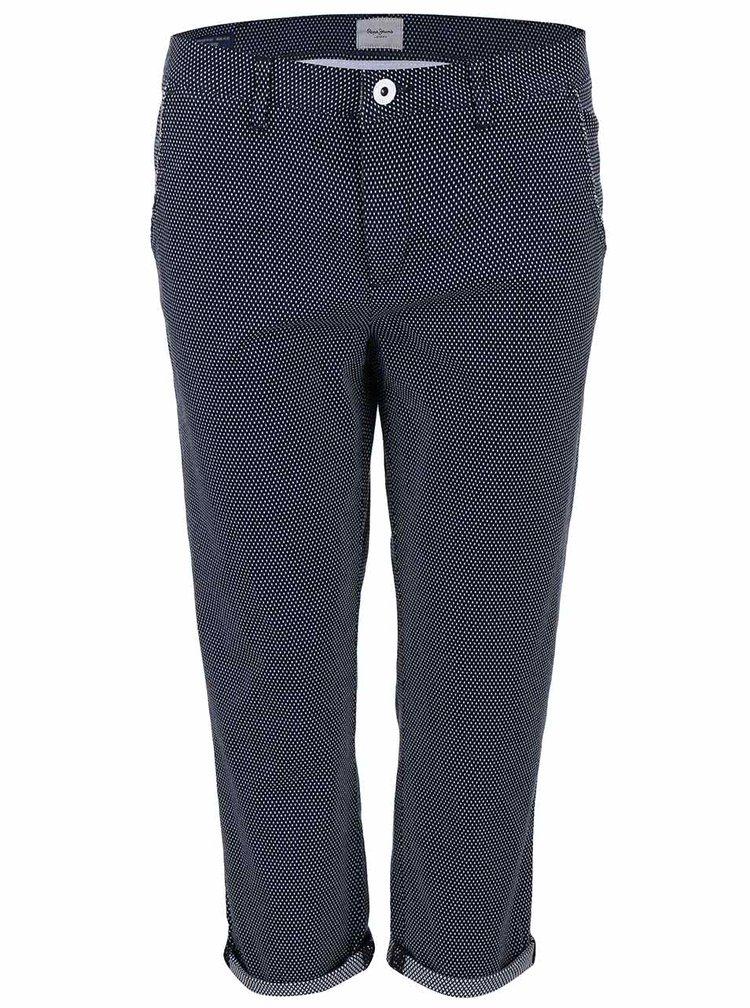 Tmavě modré kalhoty s puntíky Pepe Jeans Nina