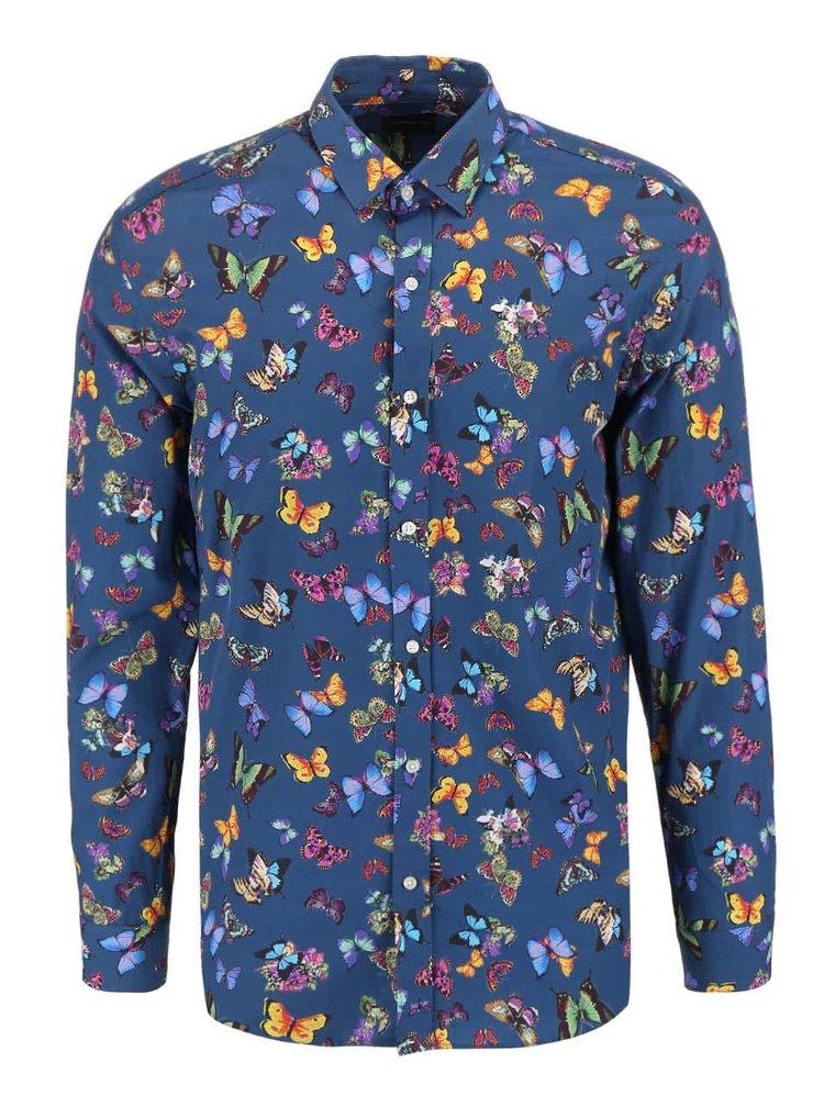 Modrá košile s potiskem motýlů Selected Homme One Butterlfy