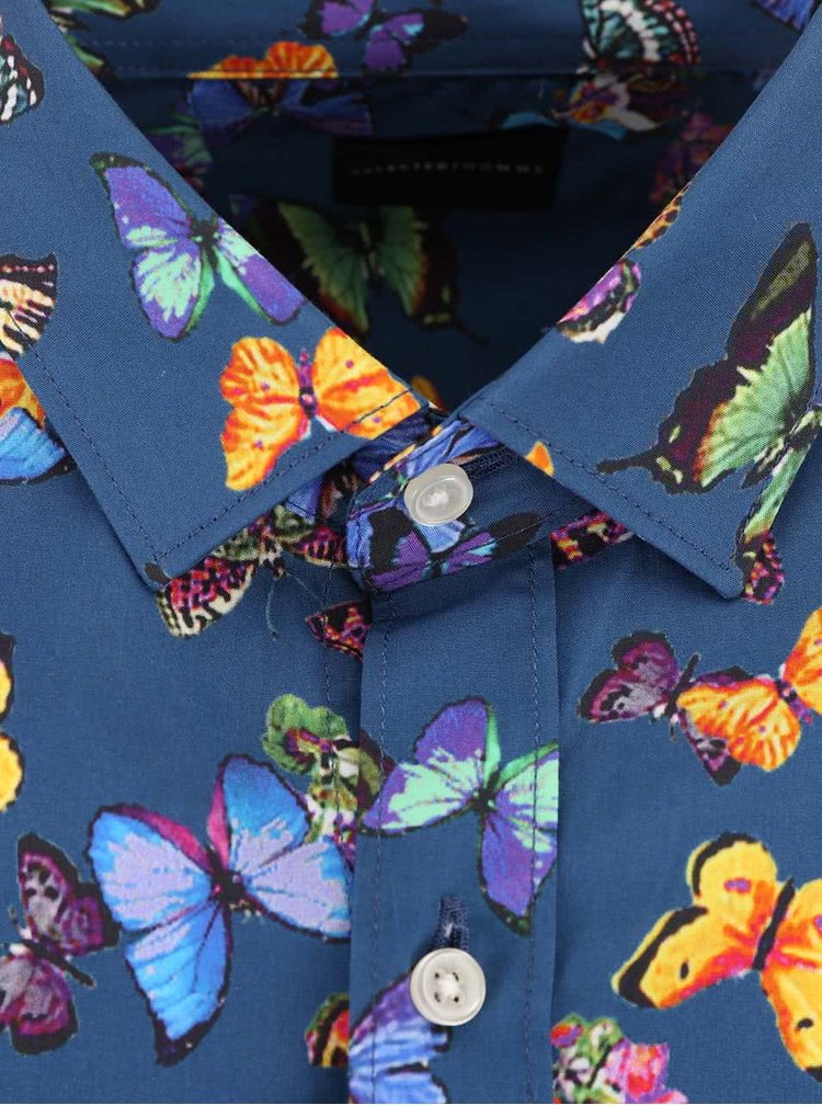 Camasa cu fluturi Selected Homme One Butterfly albastra