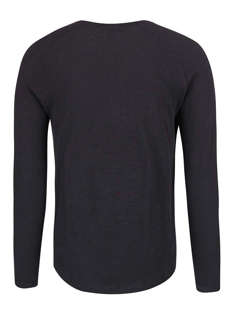 Tmavě modré triko s dlouhými rukávy Selected Homme Carter