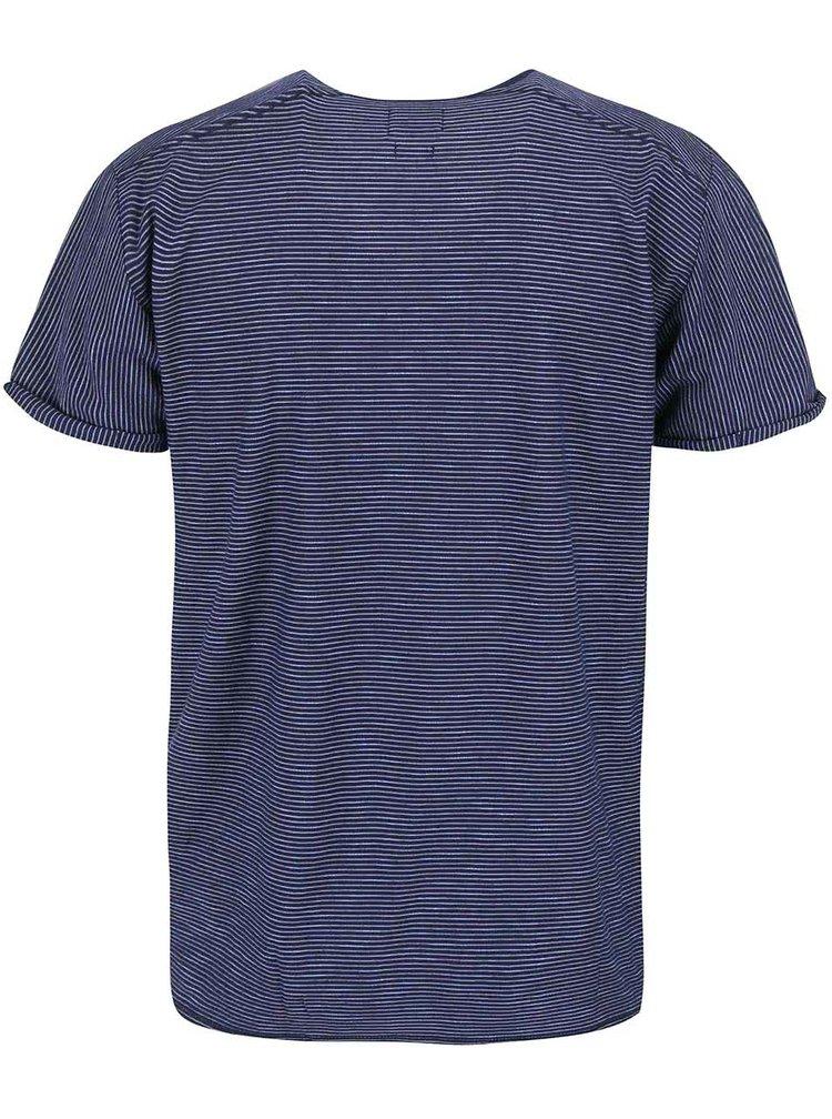 Tmavě modré pruhované triko Selected Homme Lane
