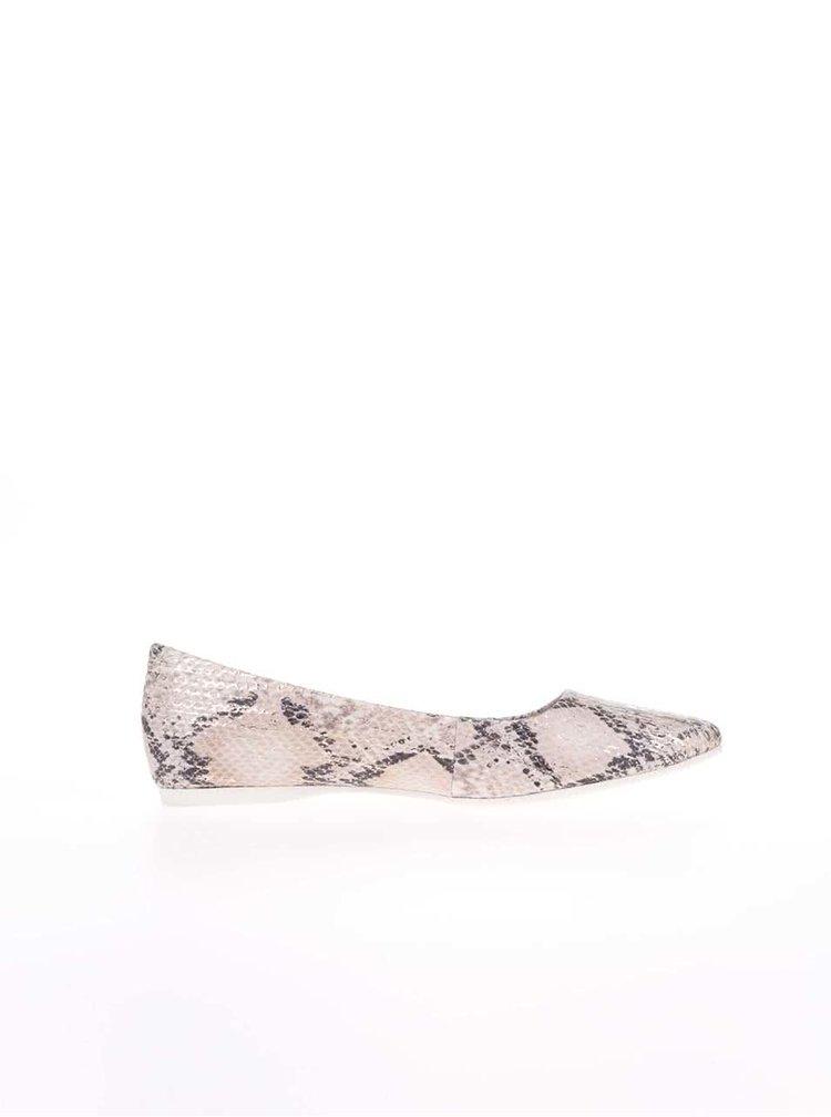 Béžové baleríny s potiskem imitace hadí kůže s.Oliver
