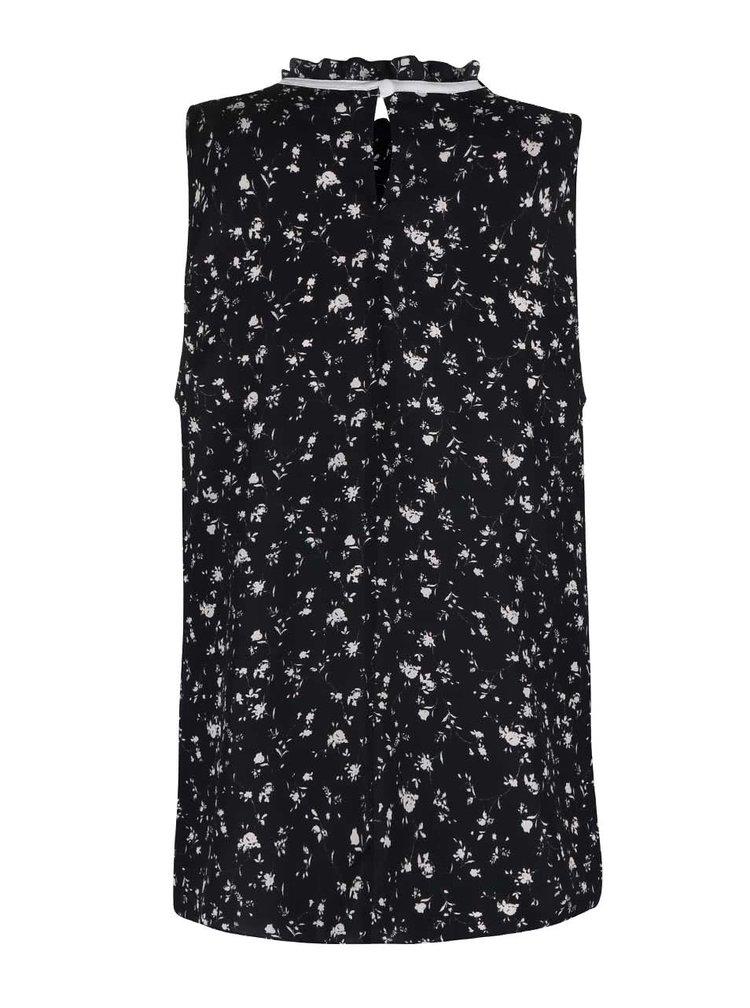 Černá květovaná halenka bez rukávů Dorothy Perkins