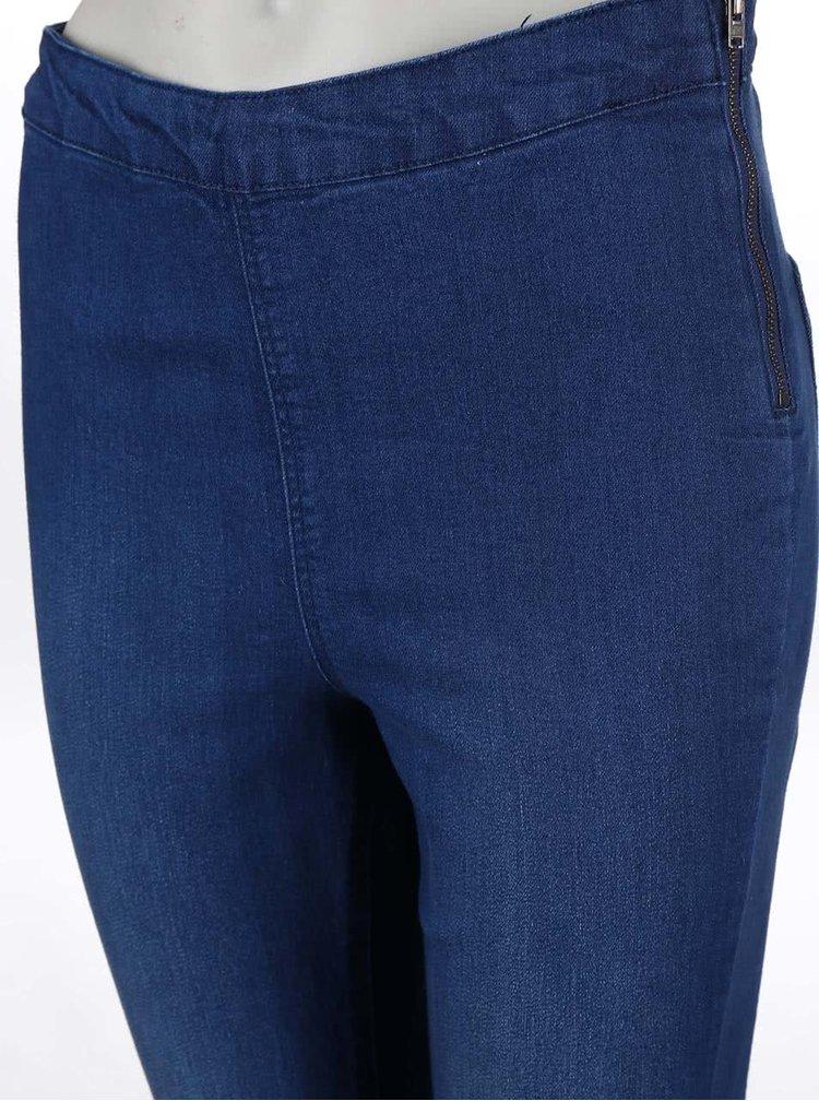 Modré strečové džíny s vyšším pasem Dorothy Perkins Lyla