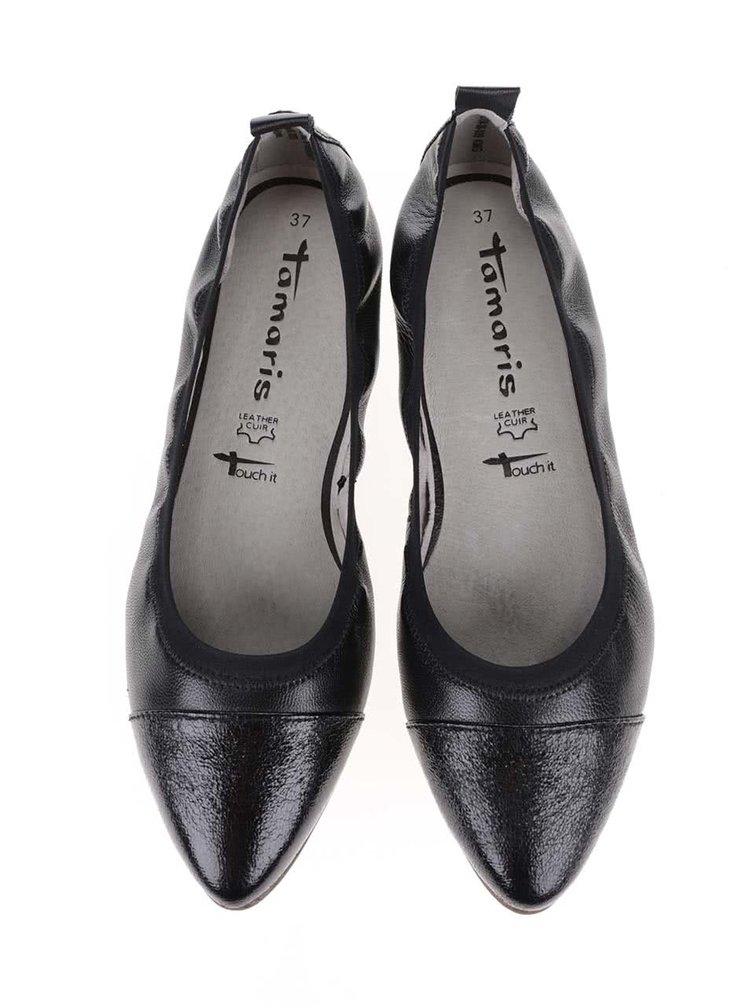 Čierne kožené baleríny Tamaris