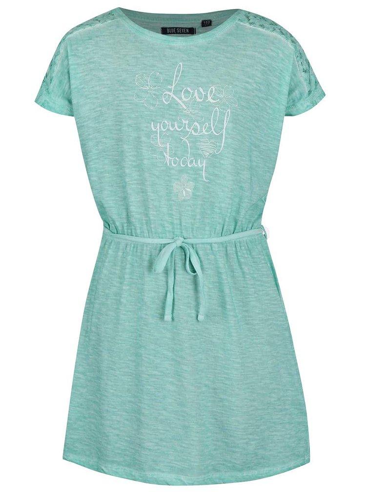 Modrozelené holčičí šaty se šňůrkou Blue Seven