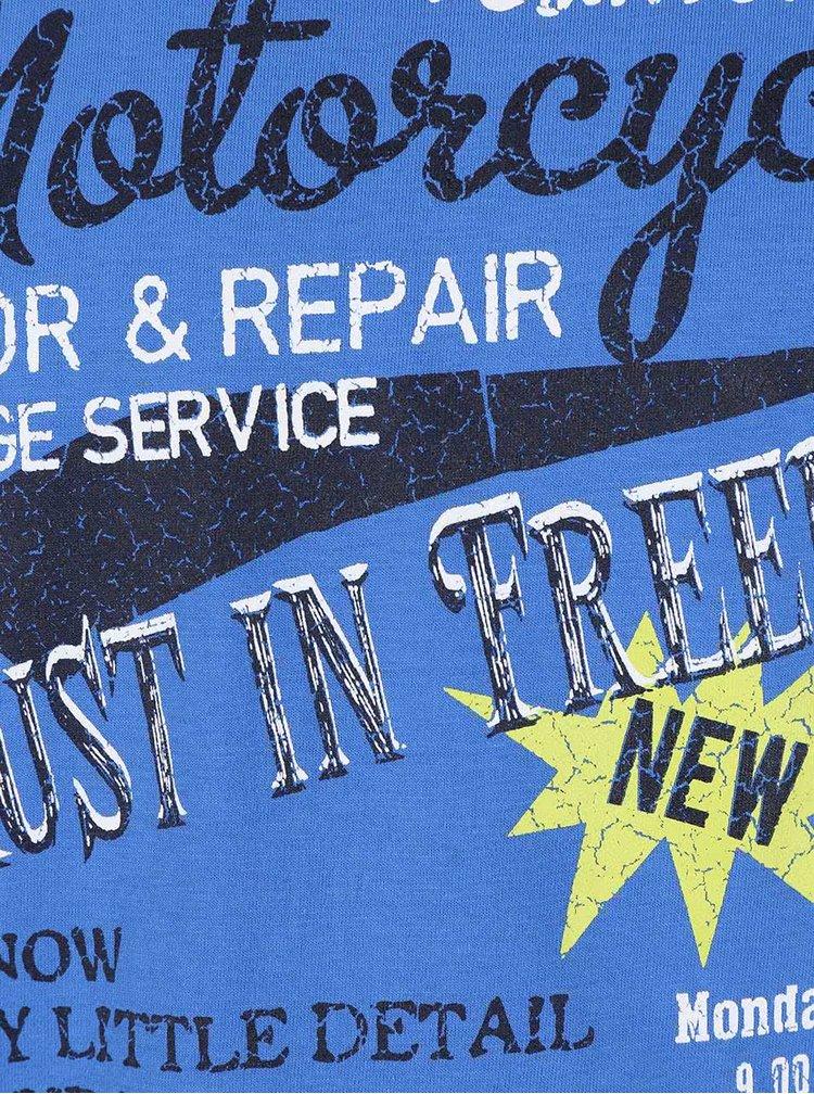 Modré chlapčenské tričko s motorkárskou potlačou Blue Seven