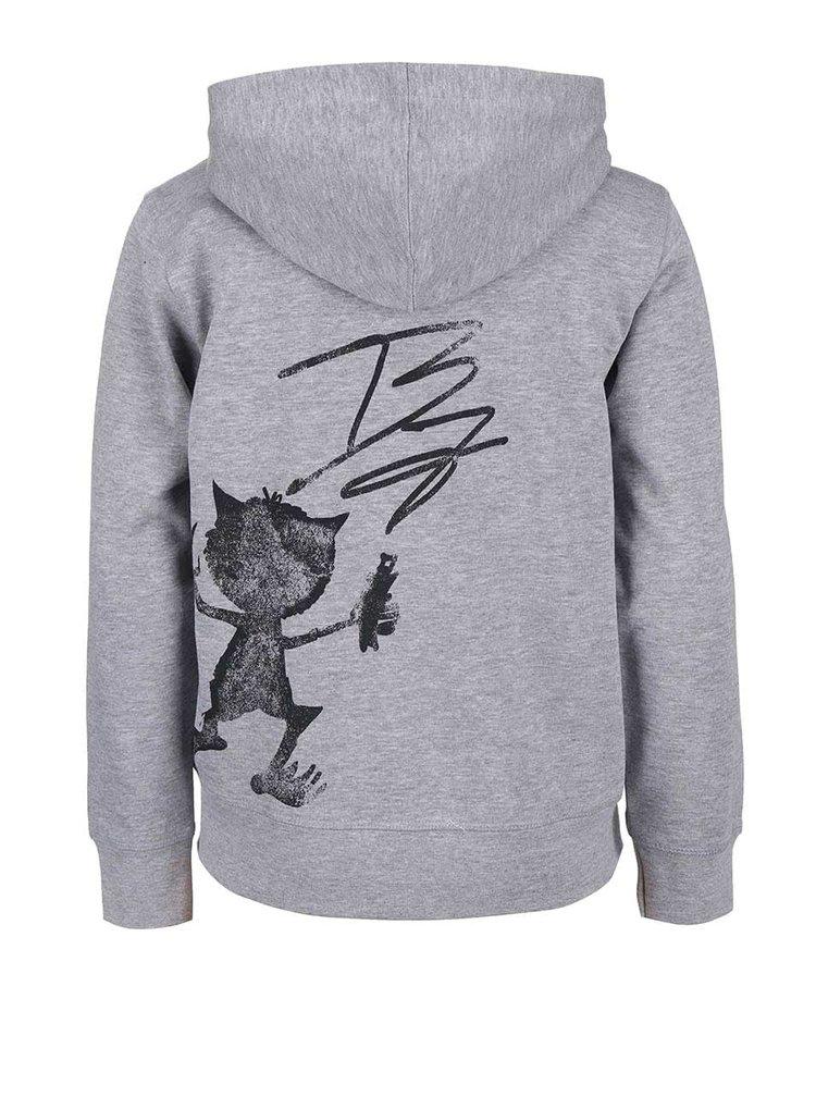 Sivá chlapčenská mikina na zips s kapucňou Blue Seven