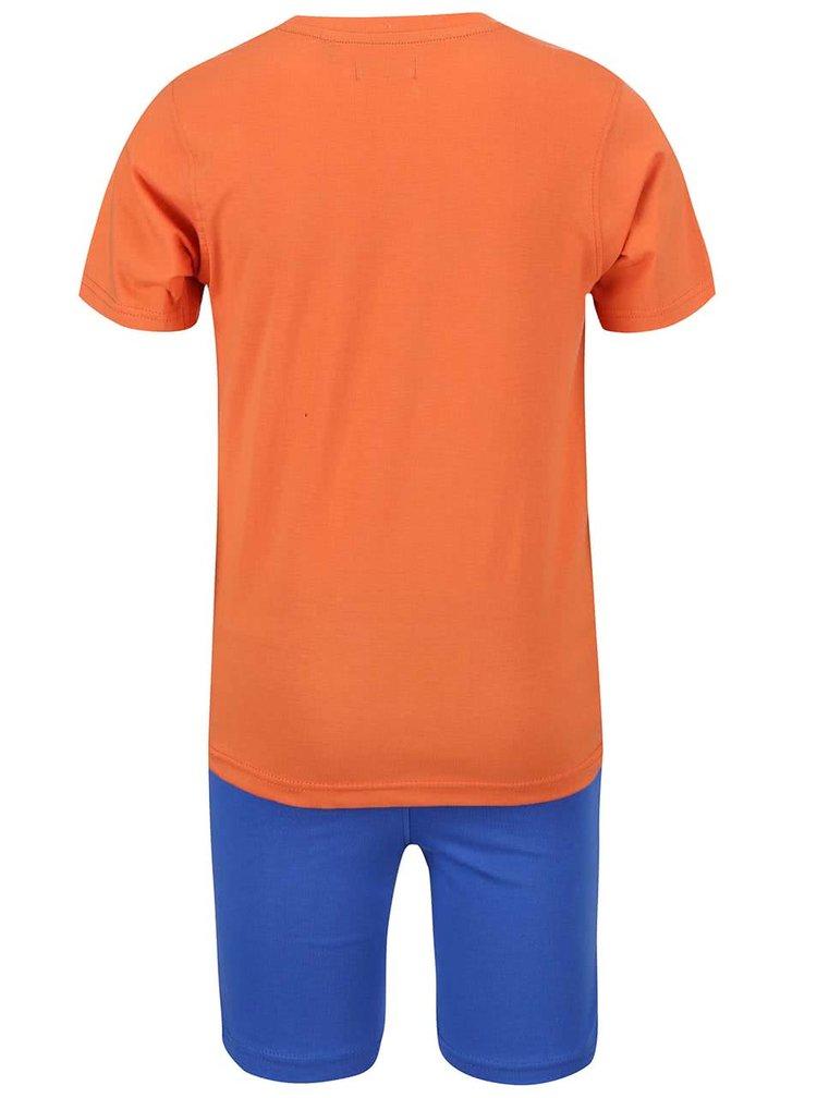 Modro-oranžová chlapčenská súprava tričko s kraťasmi Blue Seven
