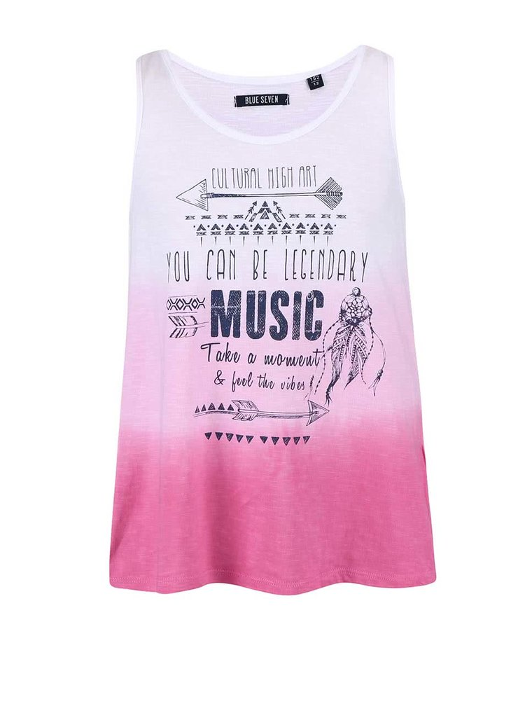 Bielo-ružové dievčenské tričko s ombré efektom Blue Seven