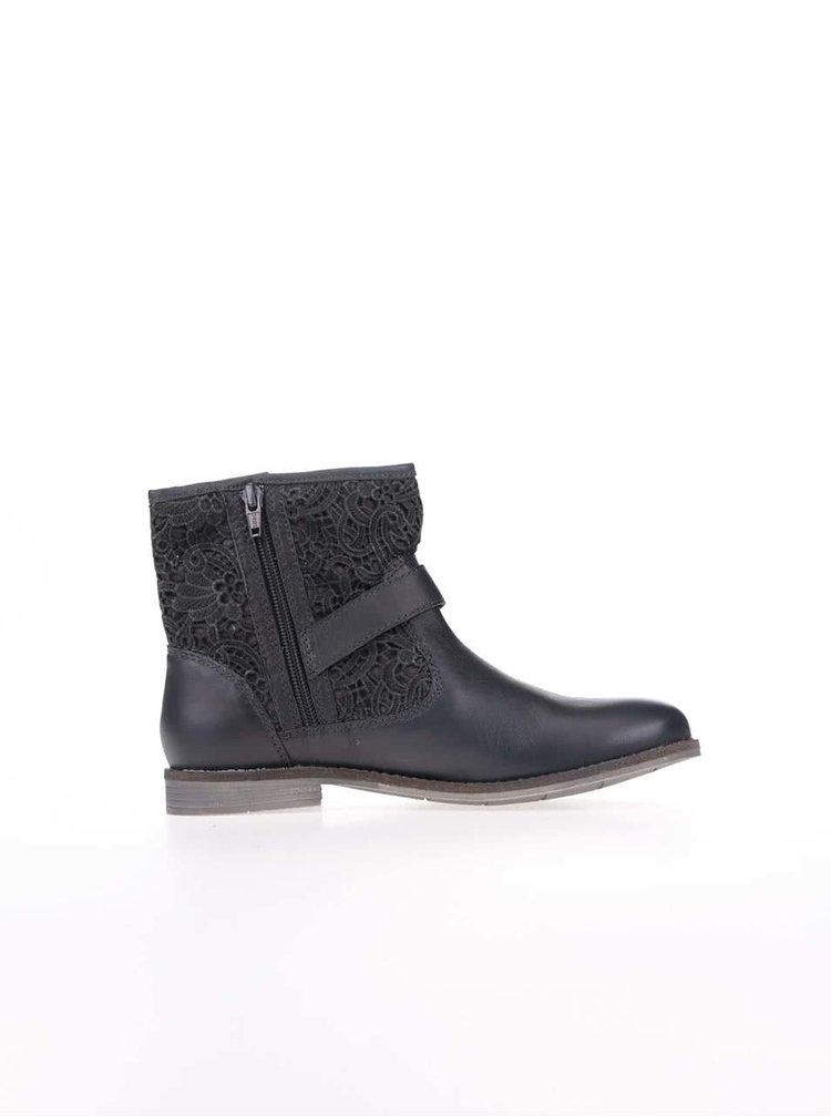 Tmavosivé dámske kožené členkové topánky s kvetovaným vzorom s.Oliver