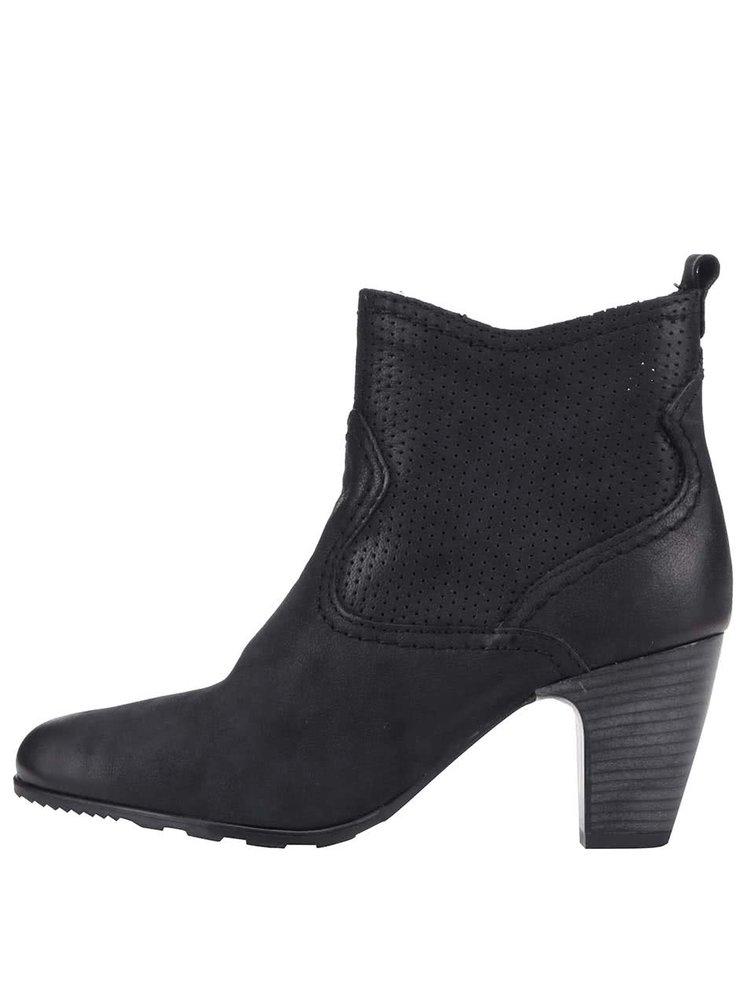 Čierne dámske kožené členkové topánky na podpätku s.Oliver