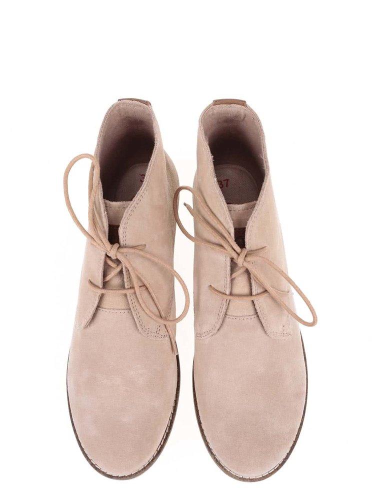 Krémové dámske kožené členkové topánky s.Oliver