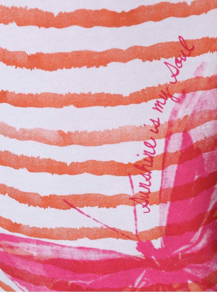 Bielo-oranžové dievčenské pruhované tričko s motýľom Blue Seven