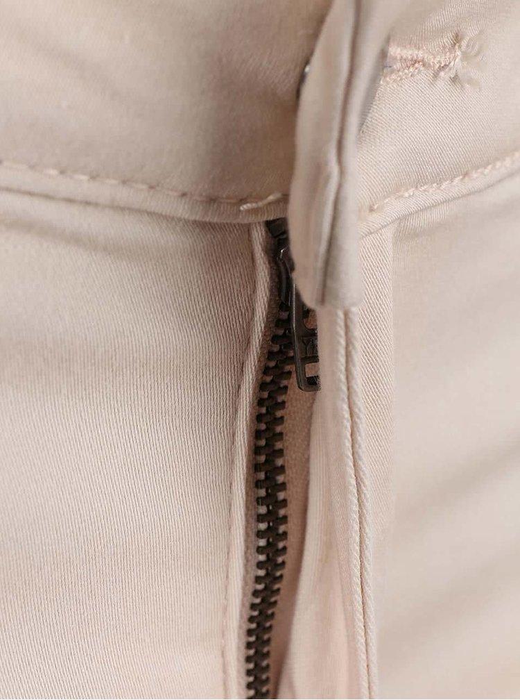 Krémovoružové úzke nohavice VILA Commit
