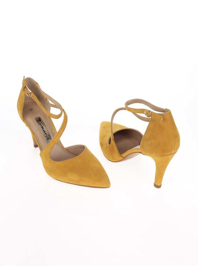 Žlté kožené lodičky s remienkami Tamaris