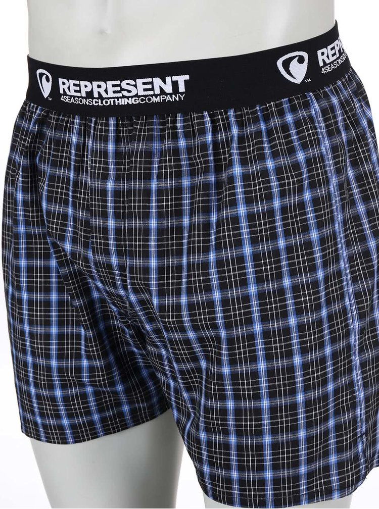 Modré-černé kostkované trenýrky Represent Mikebox