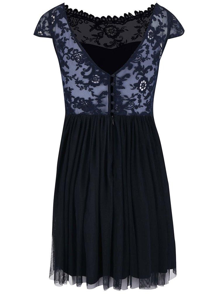 Tmavě modré šaty s krajkou VILA Ulricana