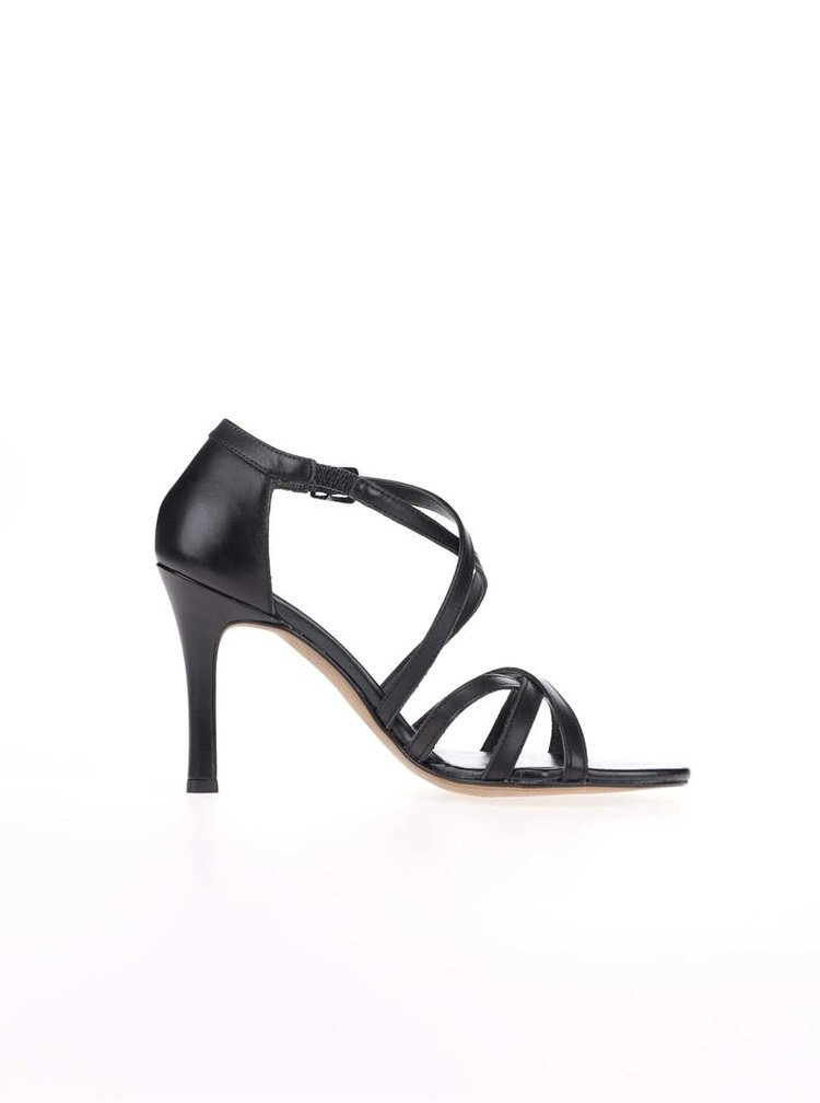 Černé kožené páskové boty na jehlovém podpatku Tamaris