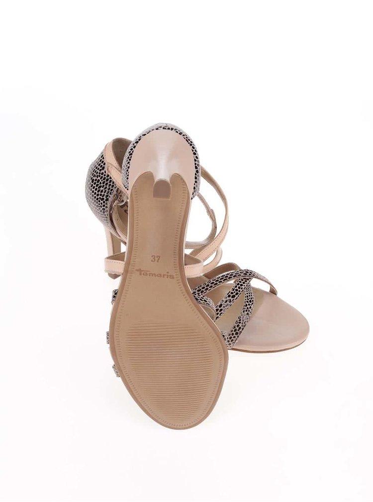 Růžové kožené páskové boty na jehlovém podpatku Tamaris
