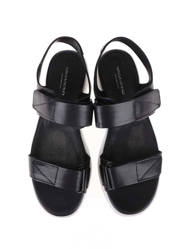 Čierne kožené sandále s bielou podrážkou Vagabond Lola