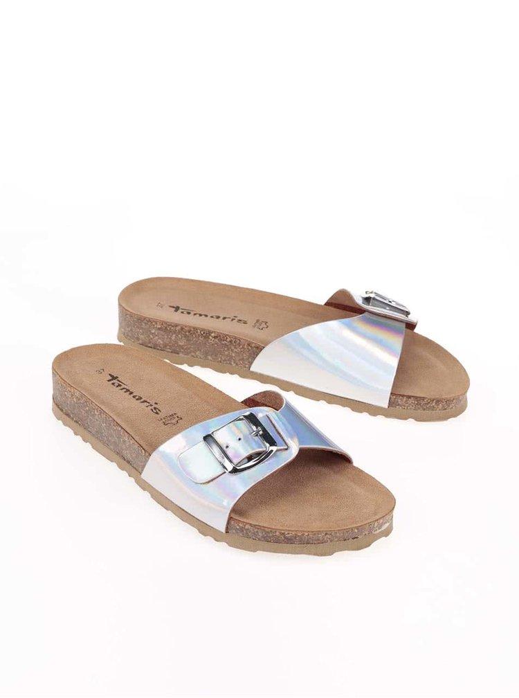 Pantofle v stříbrné barvě Tamaris