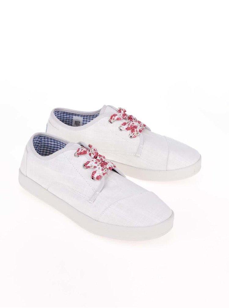 Biele tenisky s farebnými šnúrkami TOMS