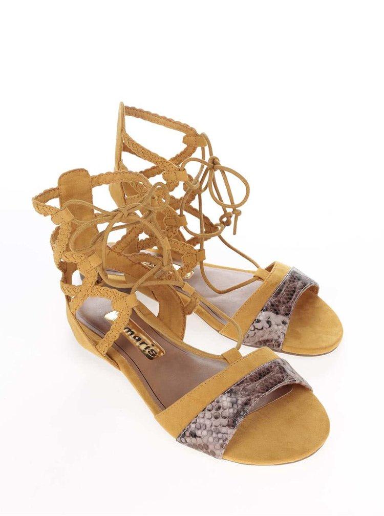 Žlté sandálky na viazanie Tamaris
