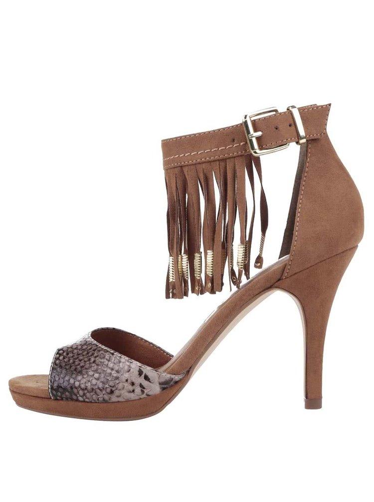 Hnedé topánky na podpätku v semišovej úprave so strapcami Tamaris