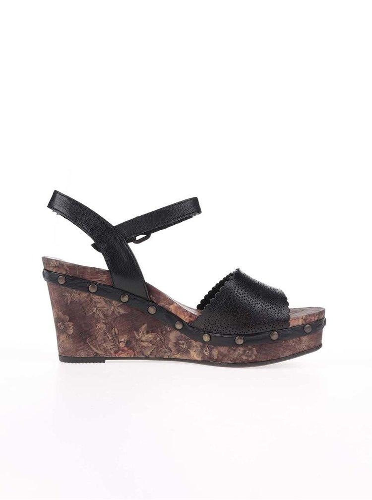 Černé vzorované kožené sandálky na klínku Tamaris