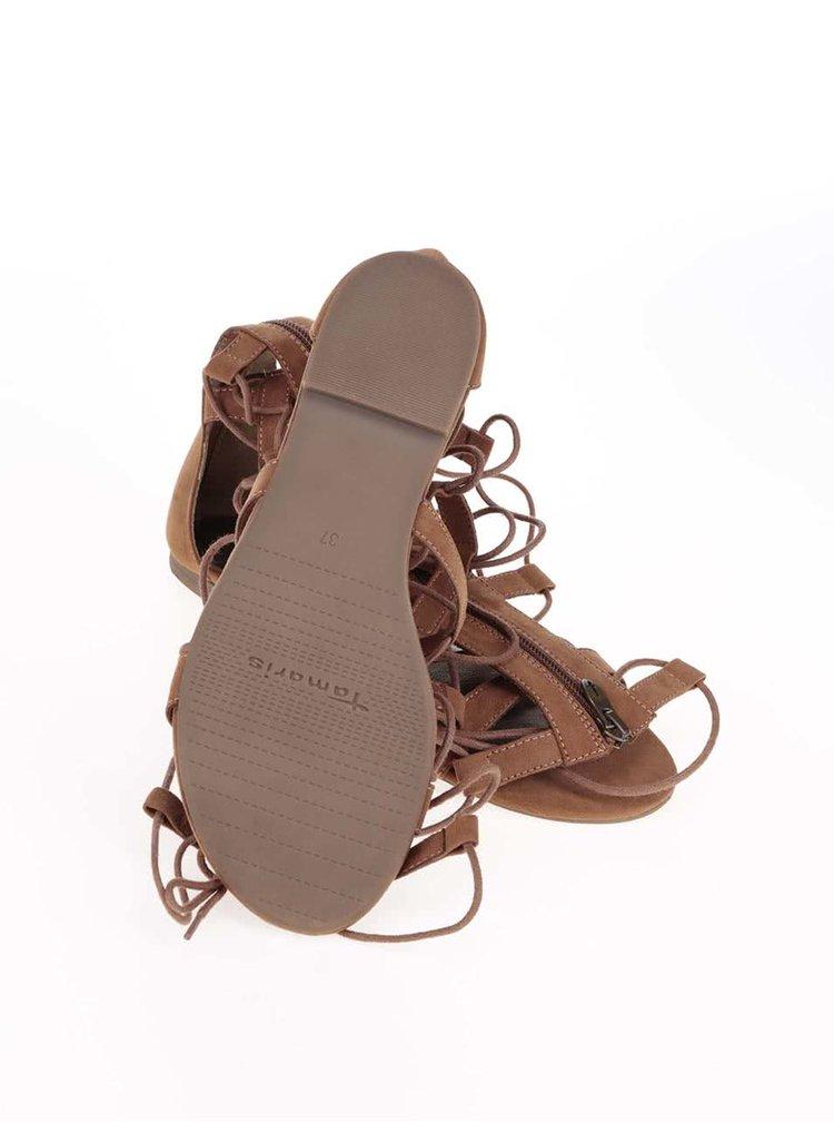 Hnědé vysoké vázací sandály Tamaris