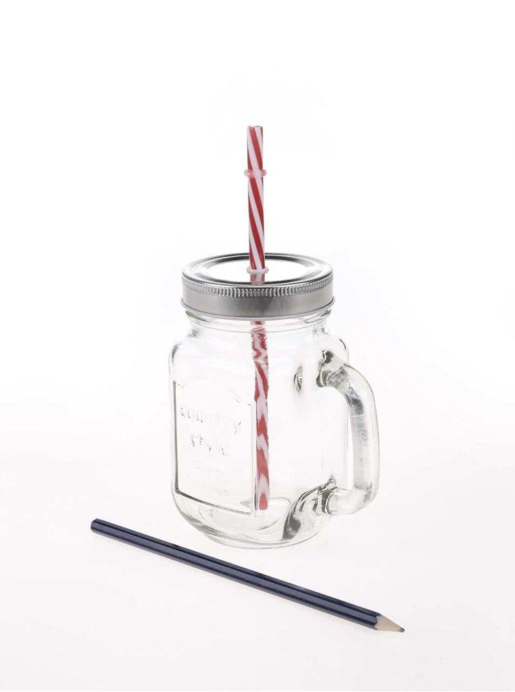 Průhledná sklenice na pití s víčkem a brčkem Helio Ferretti