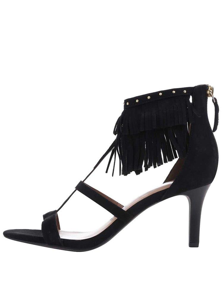 Černé semišové sandálky na podpatku s třásněmi Tamaris