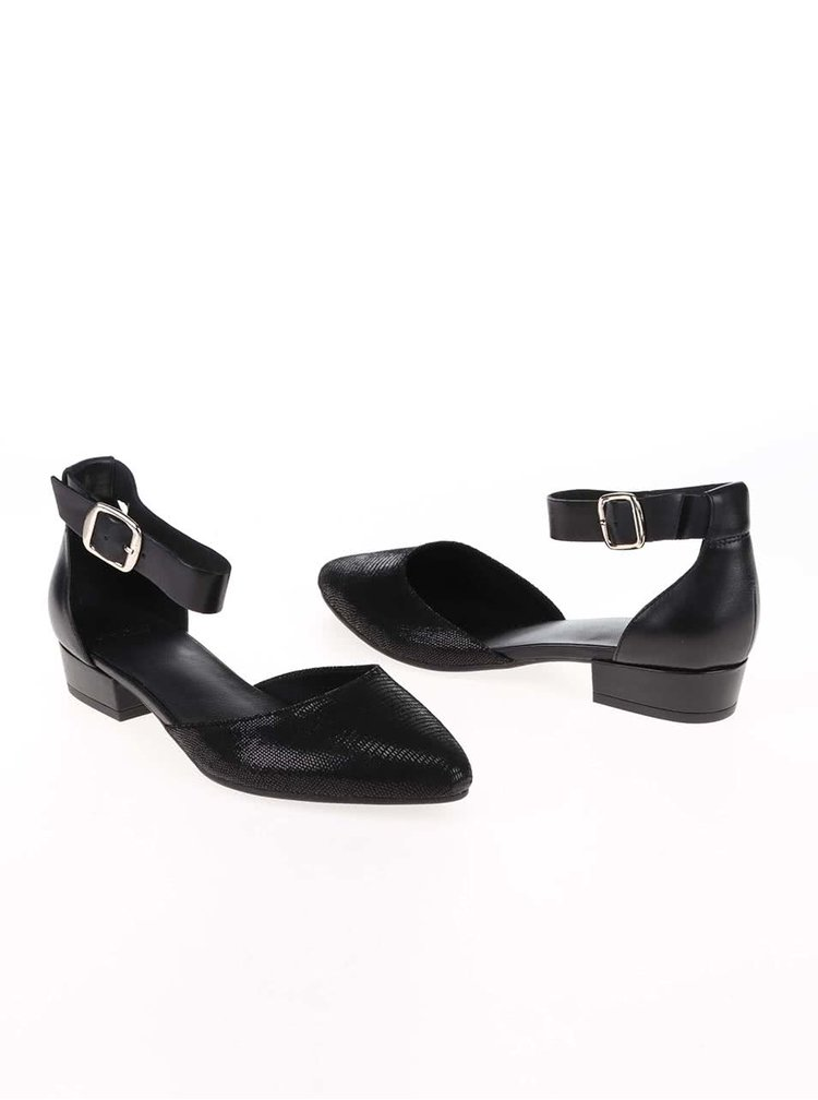 Černé kožené kotníkové sandálky Vagabond Sarah