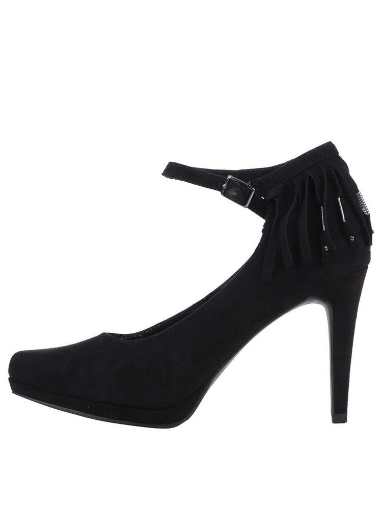 Pantofi Tamaris negri cu franjuri