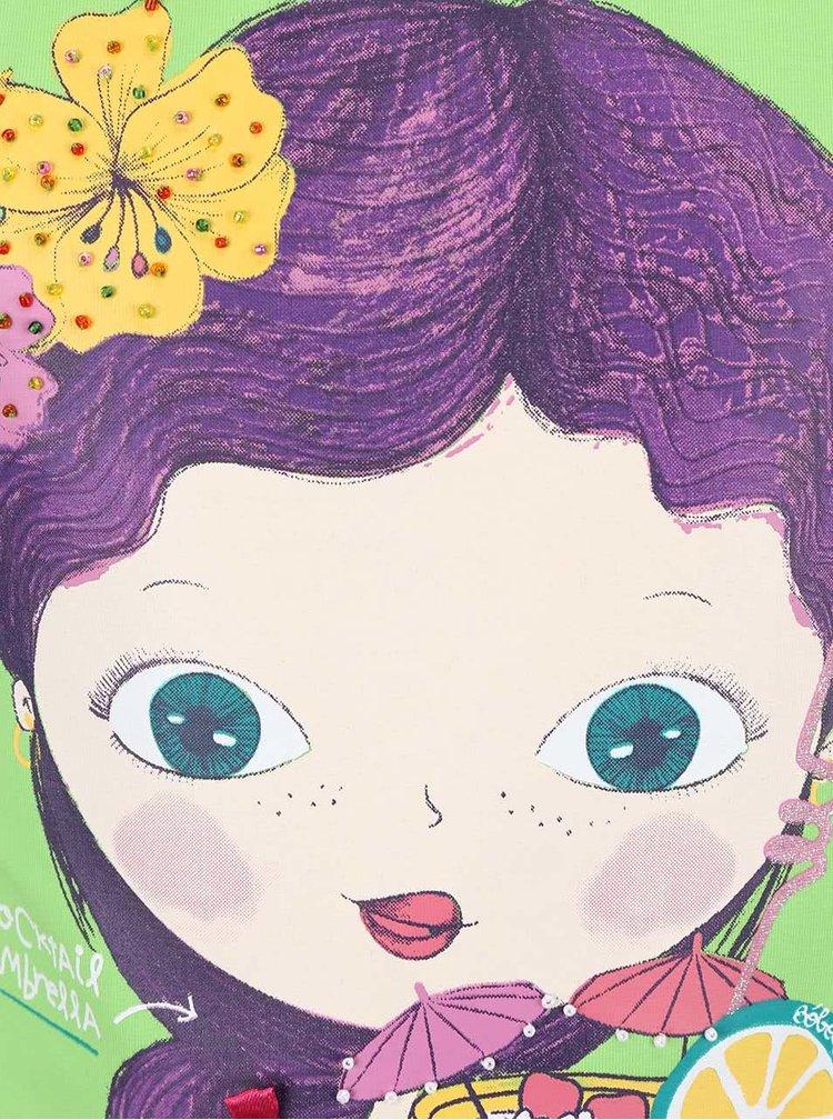 Zelené dievčenské tričko s potlačou dievčatka Bóboli