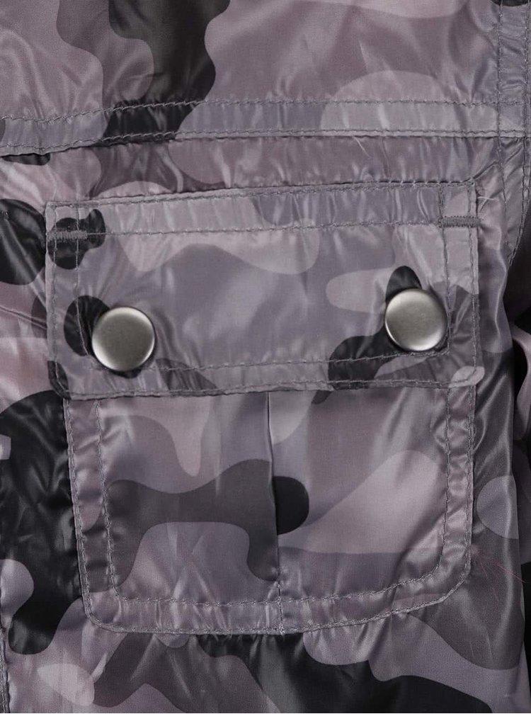 Šedá maskáčová klučičí nepromokavá bunda Bóboli
