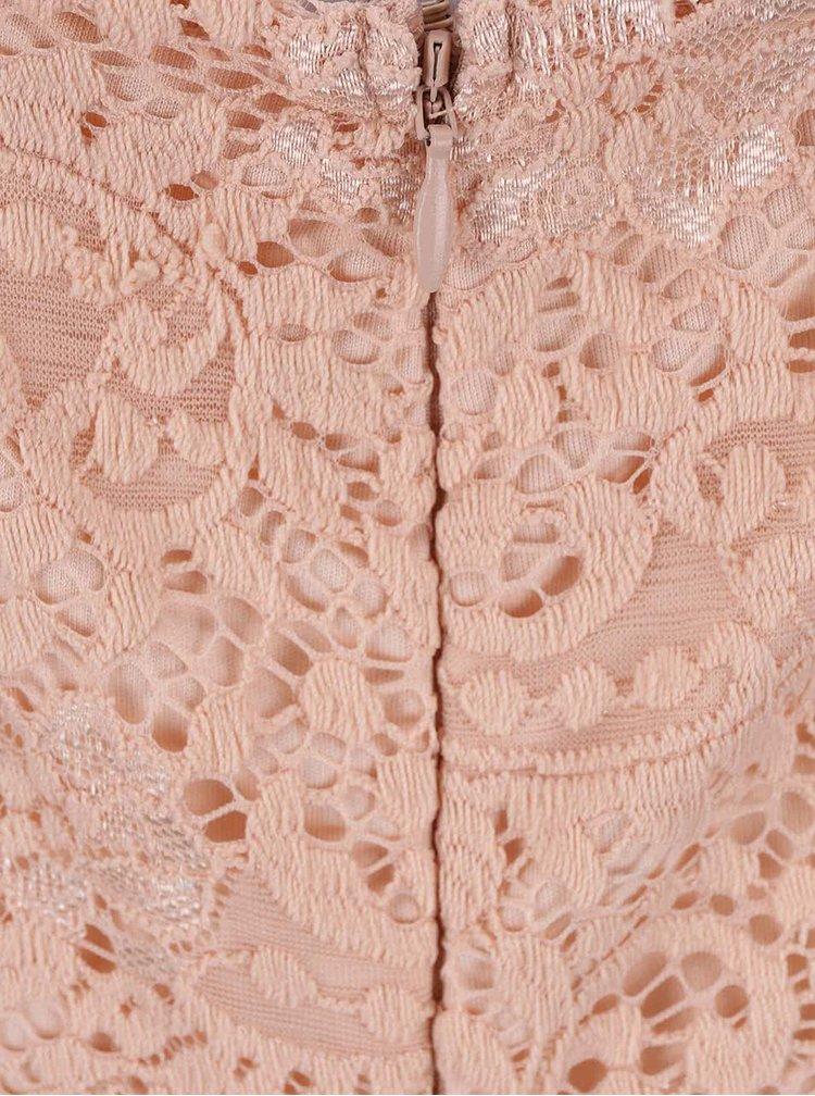 Světle růžové krajkové šaty VERO MODA Celeb
