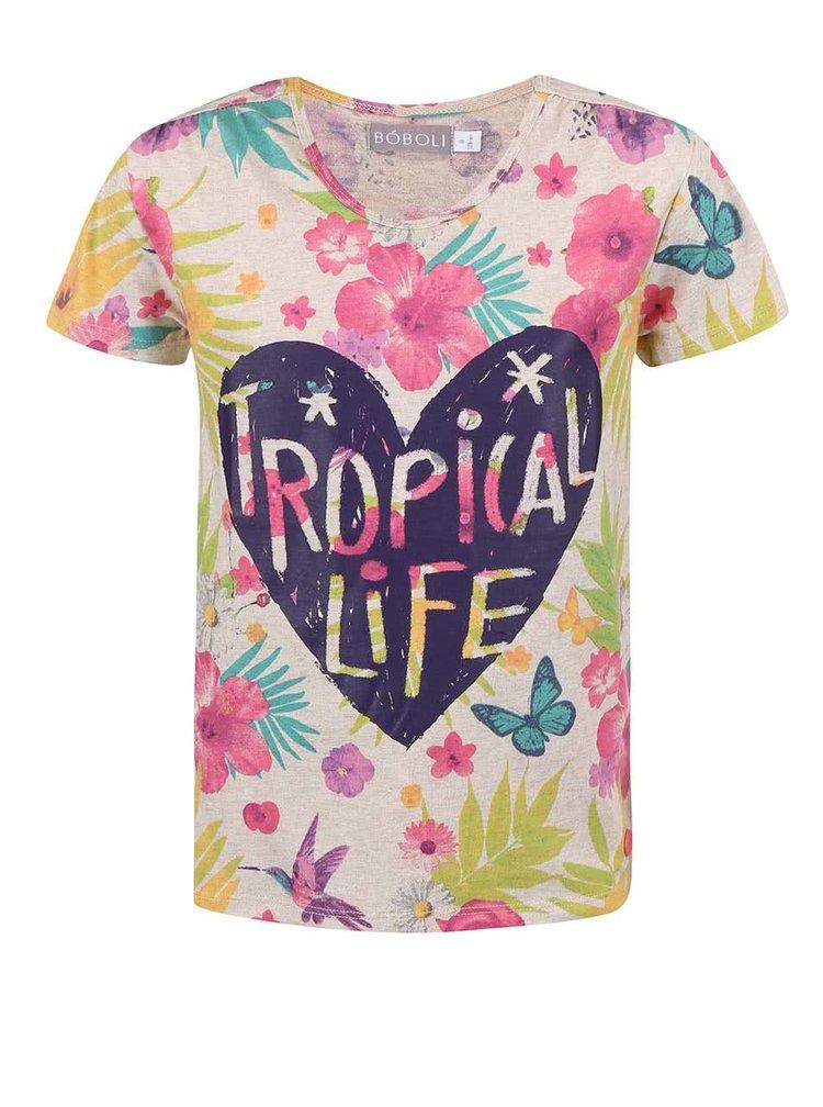 Farebné dievčenské kvetované tričko Bóboli