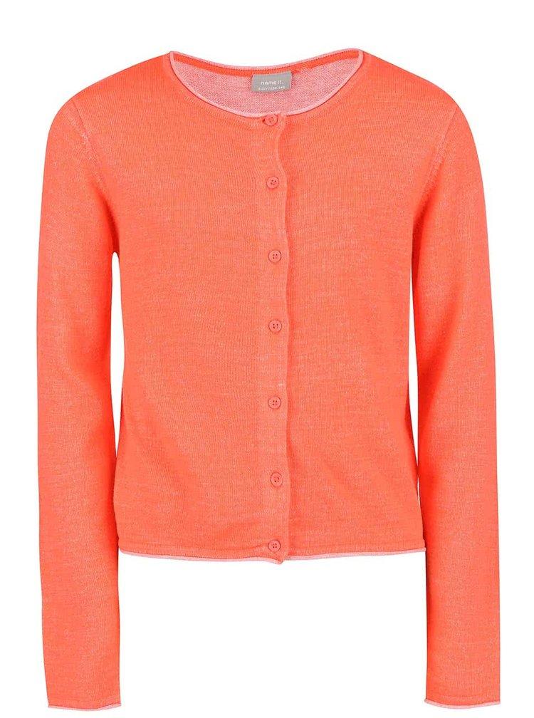 Neónovo oranžový dievčenský sveter na gombíky name it Galin