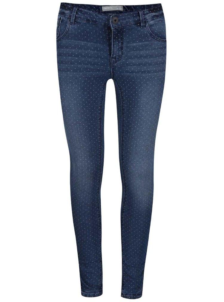 Modré holčičí puntíkované džíny name it Sifane