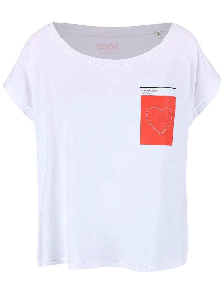 Biele dámske oversize tričko ZOOT Originál Heart Color