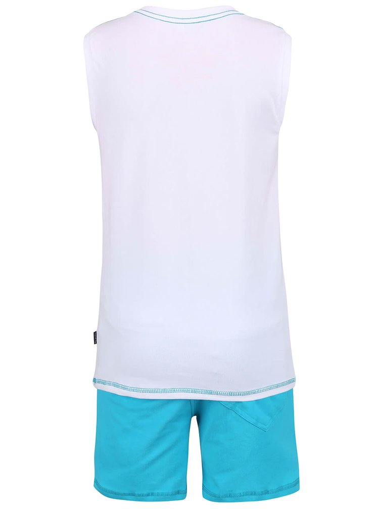 Set maiou și pantaloni scurți name it Zacco alb-albastru