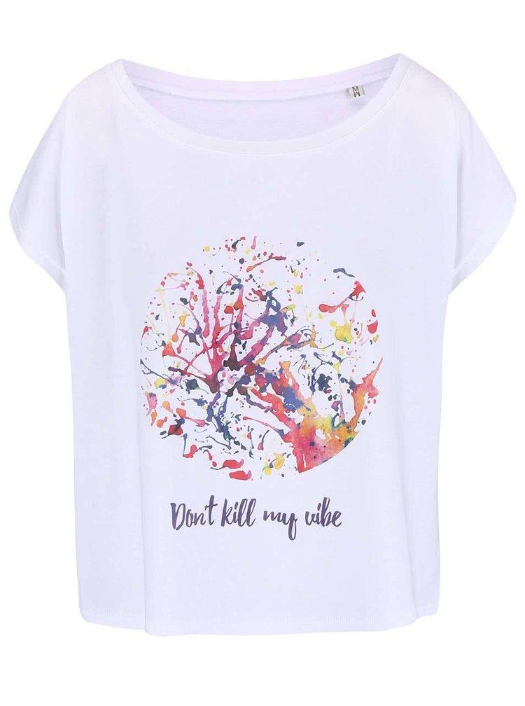 """Tricou de dama ZOOT Original """"Don't Kill My Vibe"""" alb"""