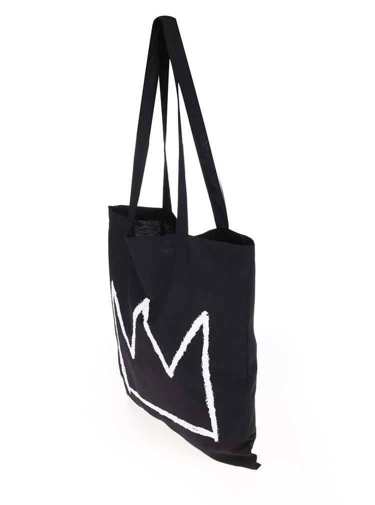 Geantă de pânză cu print coroana ZOOT Original Basquiat